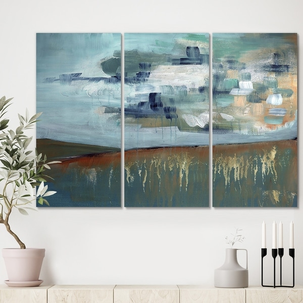 Designart 'Blue Skye Composition I' Premium Modern Canvas Wall Art - 36x28 - 3 Panels
