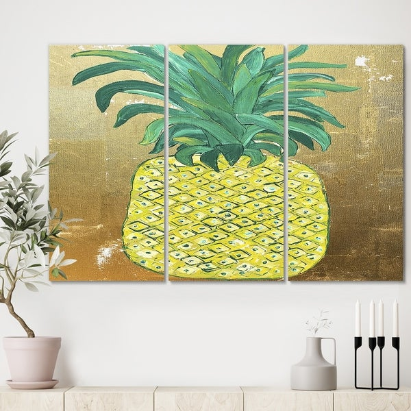 Designart 'Pineapple Gold' Cottage Canvas Wall Art - 36x28 - 3 Panels
