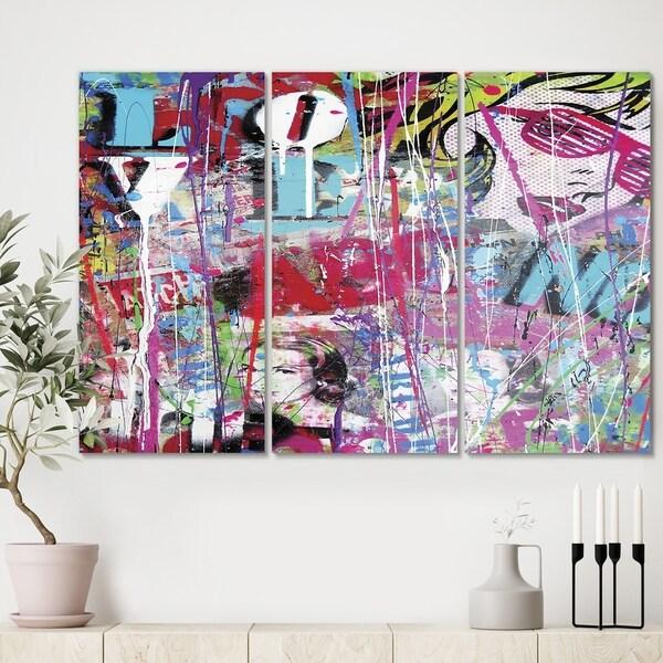 Designart 'Old Style Newspaper Street Art Collage II' Premium Modern Canvas Wall Art - 36x28 - 3 Panels