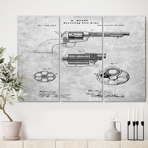 Designart 'PP1119-Slate US Firearms Single Action Army Revolver Patent Poster' Cottage Canvas Art Print - 36x28 - 3 Panels