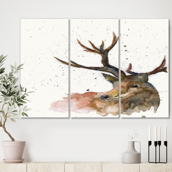 Designart 'Deer on White' Cottage Canvas Wall Art - 36x28 - 3 Panels