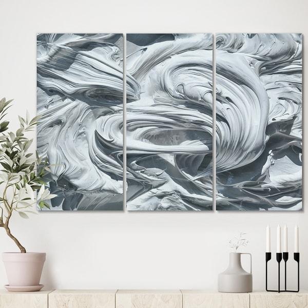 Designart 'Waves of White Gray Paint' Premium Modern Canvas Wall Art - 36x28 - 3 Panels