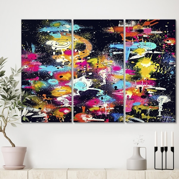 Designart 'The Lovers The Dreamers & Me' Modern Gallery-wrapped Canvas - 36x28 - 3 Panels