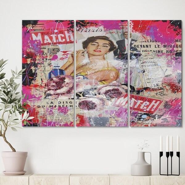 Designart 'Old Style Newspaper Street Art Collage I' Modern Canvas Artwork - 36x28 - 3 Panels