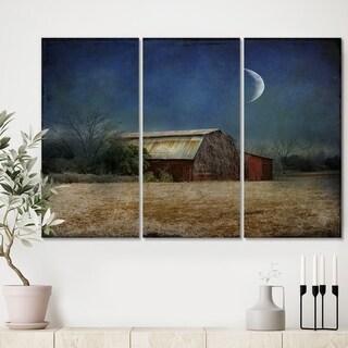 Designart 'In the Land of Cotton' Farmhouse Canvas Wall Art - 36x28 - 3 Panels
