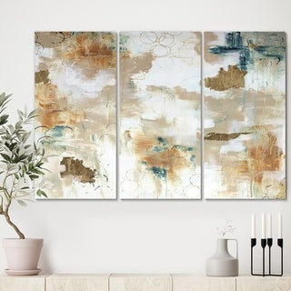 Designart 'Gilded Daydreams' Modern Gallery-wrapped Canvas - 36x28 - 3 Panels