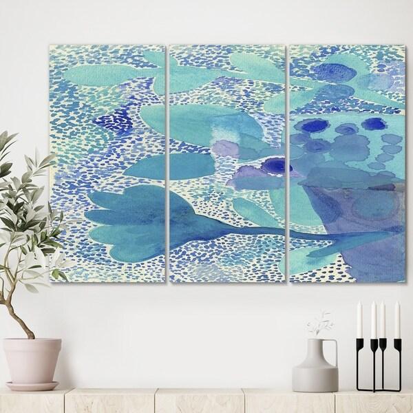 Designart 'Sea Garden Impression' Mid Century Modern Canvas Artwork - 36x28 - 3 Panels