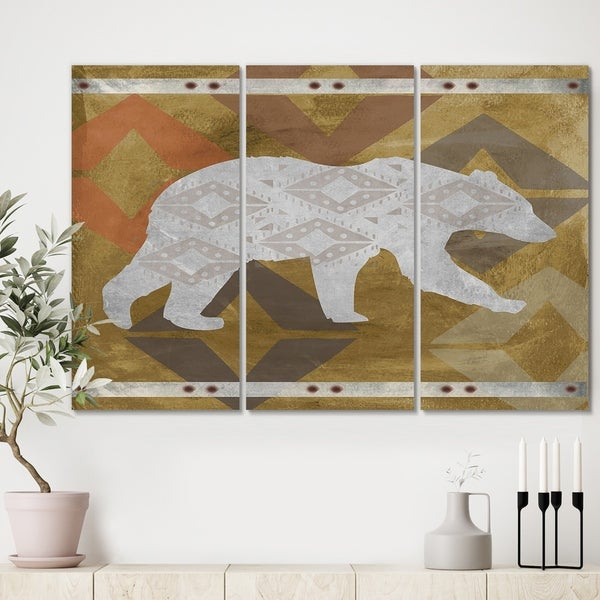 Designart 'Patterned Walking White Bear' Traditional Canvas Wall Art - 36x28 - 3 Panels