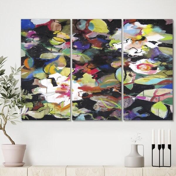 Designart 'Colorful Flowers on Black' Modern Canvas Artwork - 36x28 - 3 Panels