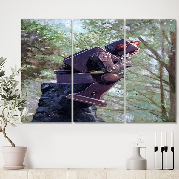 Designart 'Robot Thinking In The Woods' Modern Canvas Wall Art - 36x28 - 3 Panels