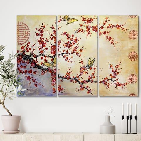 Designart 'Butterfly Blossoms-Asian' Cottage Canvas Art Print - 36x28 - 3 Panels