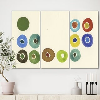 Designart 'Circular Composition I' Mid Century Modern Gallery-wrapped Canvas - 36x28 - 3 Panels