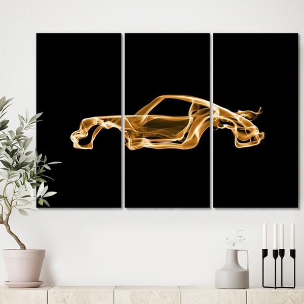 Designart 'Porsche 911 Turbo' Modern Canvas Art Print - 36x28 - 3 Panels