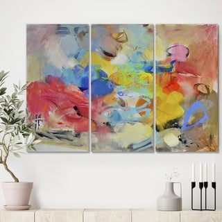 Designart 'Blue And Yellow Color Spatters III' Modern Gallery-wrapped Canvas - 36x28 - 3 Panels