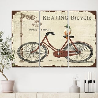 Designart 'BIKE-KEATING BICYCLE' Cottage Canvas Art Print - 36x28 - 3 Panels