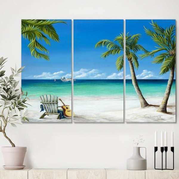 Designart 'Bird of Paradise' Beach Canvas Wall Art - 36x28 - 3 Panels