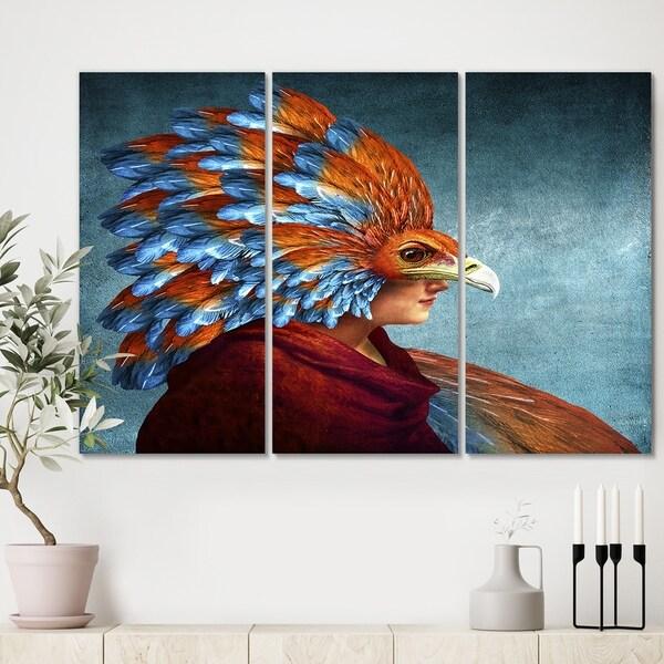 Designart 'Free-Spirited' Modern Gallery-wrapped Canvas - 36x28 - 3 Panels