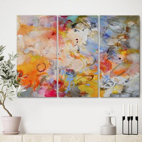 Designart 'Blue And Yellow Color Whirls' Premium Modern Canvas Wall Art - 36x28 - 3 Panels