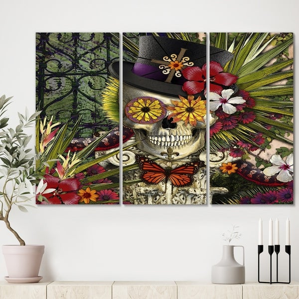 Designart 'Baron in Bloom' Modern Canvas Art Print - 36x28 - 3 Panels