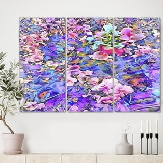 Designart 'Pink and Blue Fusion' Cottage Gallery-wrapped Canvas - 36x28 - 3 Panels