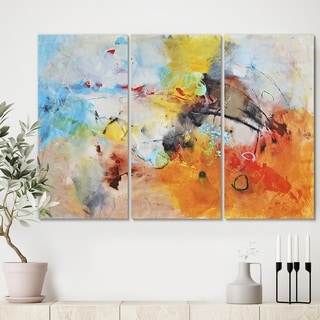 Designart 'Blue And Yellow Color Spatters II' Modern Canvas Art Print - 36x28 - 3 Panels