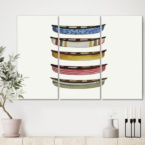 Designart 'Five Canoes' Premium Lake House Canvas Wall Art - 36x28 - 3 Panels