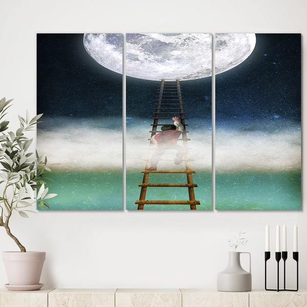 Designart 'Reach for the Moon' Premium Modern Canvas Wall Art - 36x28 - 3 Panels