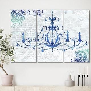 Designart 'Chandelier I' Premium Fashion Canvas Wall Art - 36x28 - 3 Panels