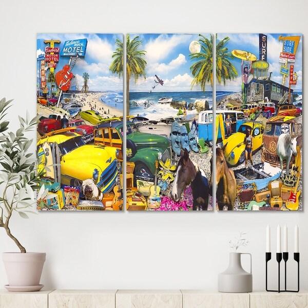 Designart 'Classic Car Palm Beach Collage' Modern Canvas Art Print - 36x28 - 3 Panels