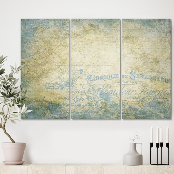 Designart 'French Blues' Traditional Canvas Art Print - 36x28 - 3 Panels