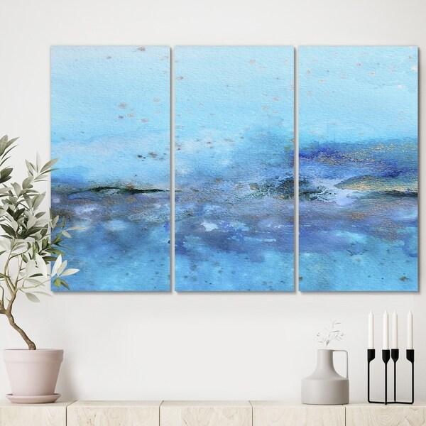 Designart 'Blue And Gold Water Impression' Modern Canvas Art Print - 36x28 - 3 Panels