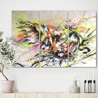 Designart 'Street Art Graffiti Bird' Modern Canvas Artwork - 36x28 - 3 Panels