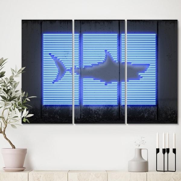 Designart 'Blue Neon Shark' Modern Canvas Wall Art - 36x28 - 3 Panels