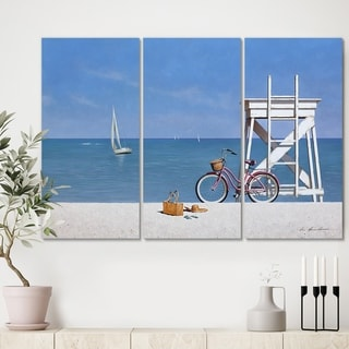 Designart 'Beach Bike 3' Beach Gallery-wrapped Canvas - 36x28 - 3 Panels