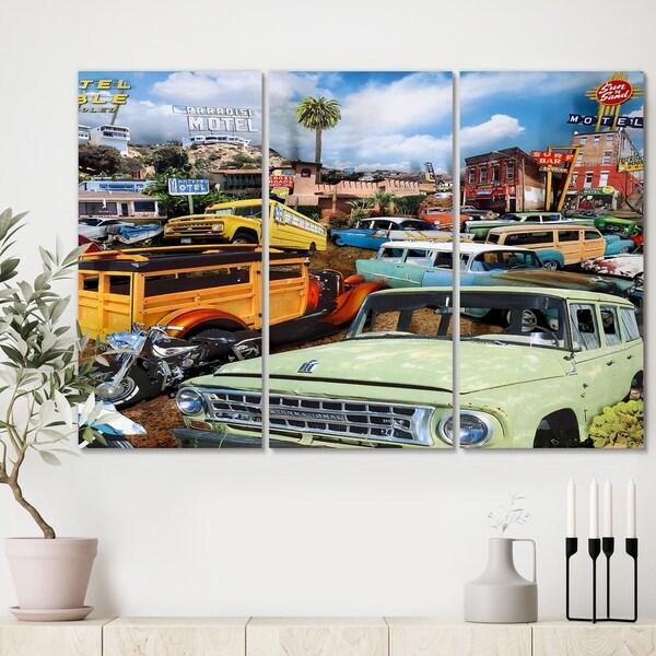 Designart 'Pacific Paradise Motel 2' Premium Modern Canvas Wall Art - 36x28 - 3 Panels