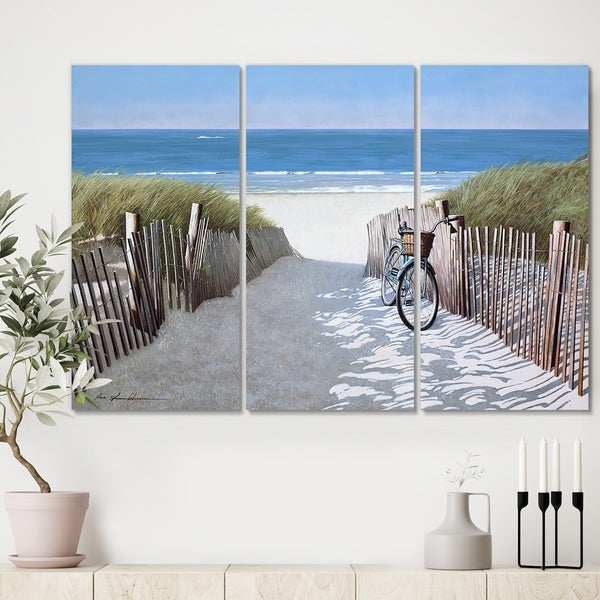 Designart 'Beach Bike 2' Beach Canvas Art Print - 36x28 - 3 Panels