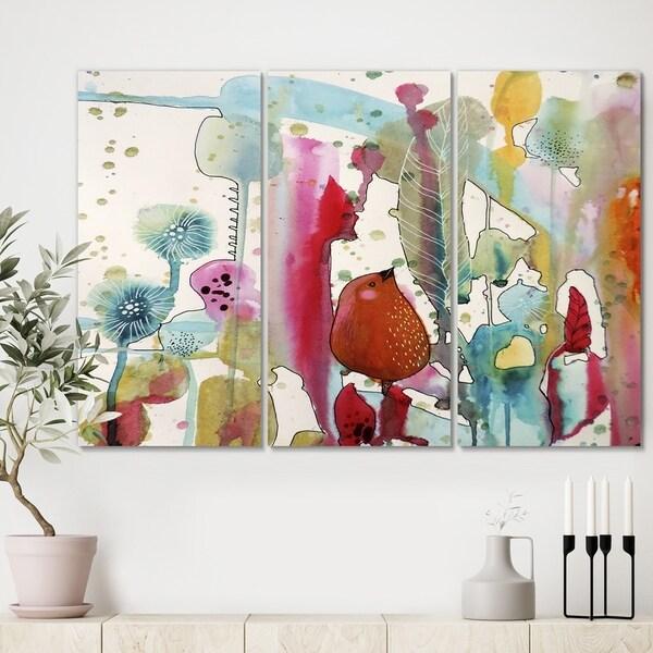 Designart 'Jouns Aux Bois' Cottage Canvas Wall Art - 36x28 - 3 Panels