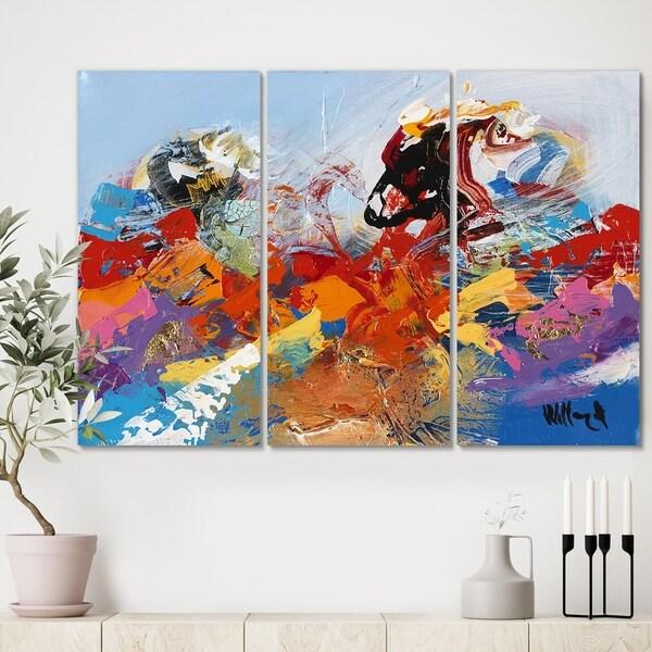 Designart 'Abstract Ocean Blue 02' Modern Canvas Artwork - 36x28 - 3 Panels