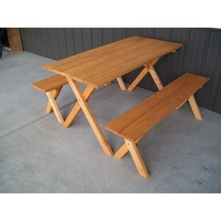 Link to Bintuni 5-foot Cedar Stain Economy Picnic Table with 2 Benches by Havenside Home Similar Items in Patio Furniture