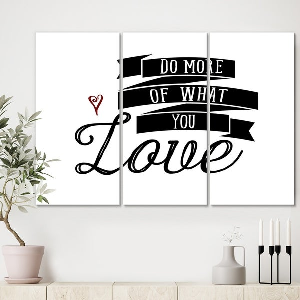 Designart 'Do More You Love' Cottage Canvas Wall Art - 36x28 - 3 Panels
