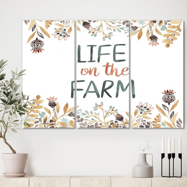 Designart 'Life On The Farm' Cottage Canvas Wall Art - 36x28 - 3 Panels