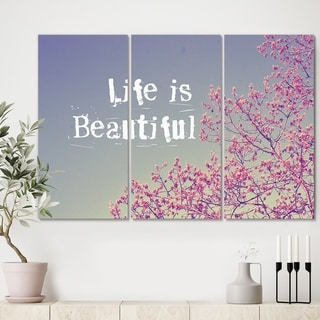 Designart 'Life Is Beautiful' Cottage Premium Canvas Wall Art - 36x28 - 3 Panels