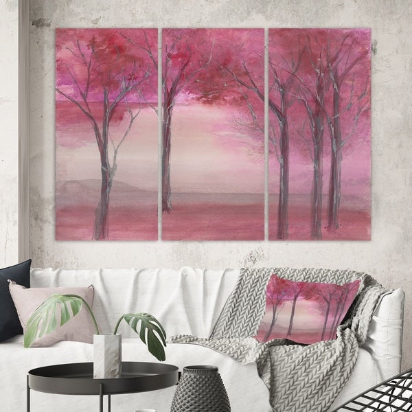 Designart 'Pink Forest' Traditional Landscape Gallery-wrapped Canvas