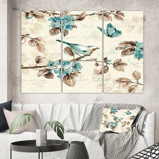Designart 'Beige Bird Wings III' Traditional Gallery-wrapped Canvas