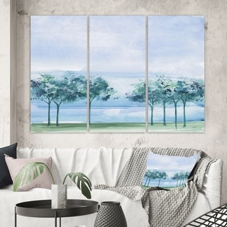 Designart 'Tree Across the Lake' Traditional Canvas Wall Art