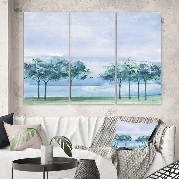 Designart 'Tree Across the Lake' Traditional Canvas Wall Art
