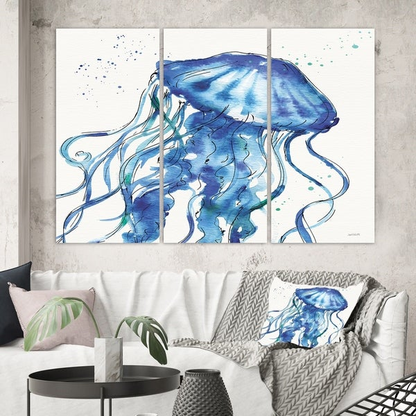 Designart 'Blue Deep Sea X' Coastal Gallery-wrapped Canvas