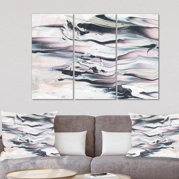 Designart 'Grey Marbling V ' Modern Transitional Gallery-wrapped Canvas