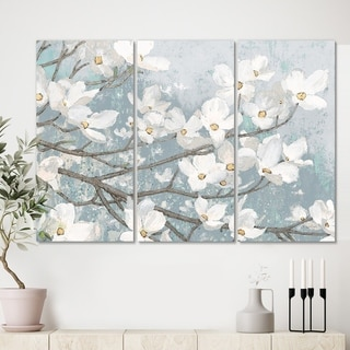 Designart 'Blue on Grey Blossoms ' Traditional Canvas Artwork