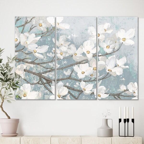 Designart 'Blue on Grey Blossoms ' Traditional Canvas Artwork